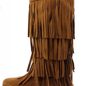 Yoki Four Layer Fringe Boot Mocassin Style Brown